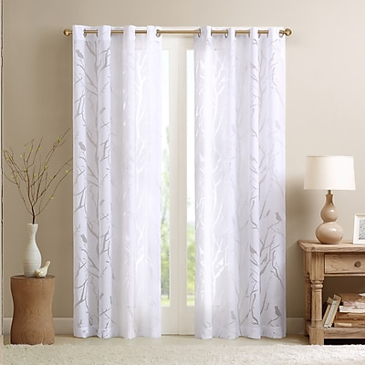 Charlton Home Givens Wildlife Sheer Burnout Grommet Single Curtain Panel; 50'' W x 63'' L