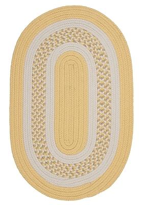 Charlton Home Germain Yellow/Gray Indoor/Outdoor Area Rug; Oval Runner 2' x 6'