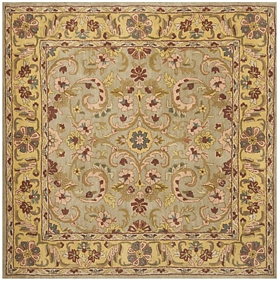Charlton Home Cranmore Green/Gold Floral Area Rug; Square 6'