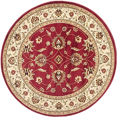 Charlton Home Ottis Red/Ivory Persian Area Rug; Round 5'3''