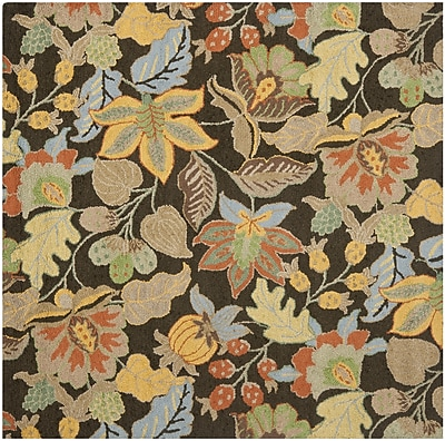 Charlton Home Bradwood Black Floral Area Rug; Square 6'
