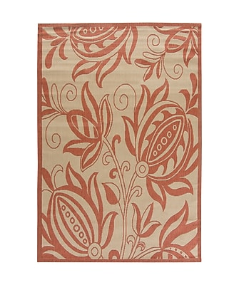 Charlton Home Octavius Natural / Red Outdoor Area Rug; Rectangle 2' x 3'7''