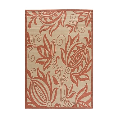 Charlton Home Octavius Natural / Red Outdoor Area Rug; Rectangle 9' x 12'6''