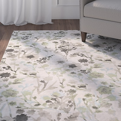 Charlton Home Cary White/Green Area Rug; Rectangle 2'2'' x 3'