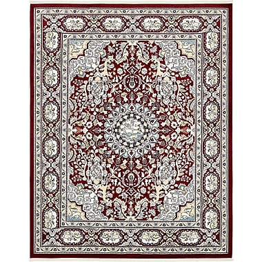 Charlton Home Courtright Burgundy/Tan Area Rug; Rectangle 10' x 13'