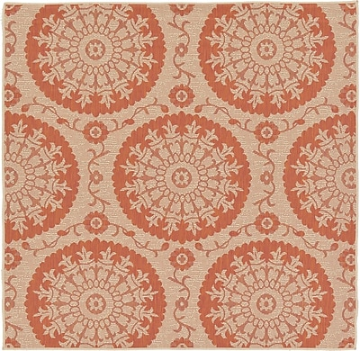 Charlton Home Ephraim Terracotta Outdoor Area Rug; Square 6'