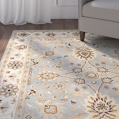 Charlton Home Dunbar Hand-Woven Wool Light Blue/Ivory Area Rug; Rectangle 2'3'' x 4'