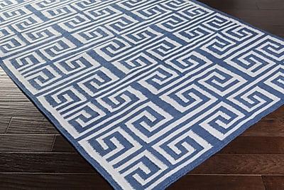 Charlton Home Larksville Hand-Woven Navy/White Indoor/Outdoor Area Rug; Rectangle 3'6'' x 5'6''
