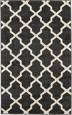 Charlton Home Moore Black Area Rug; Rectangle 3'3'' x 5'3''