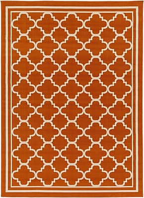 Charlton Home Osage Rust Indoor/Outdoor Area Rug; Rectangle 6'7'' x 9'6''