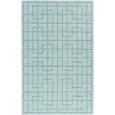 Charlton Home Peever Hand-Loomed Aqua Area Rug; Rectangle 5' x 8'