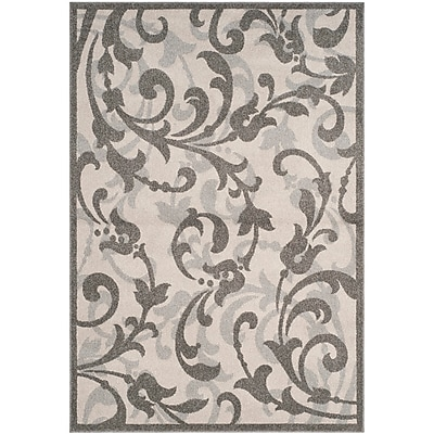 Charlton Home Neil Ivory/Gray Indoor/Outdoor Area Rug; Rectangle 6' x 9'