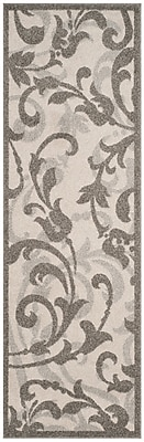 Charlton Home Neil Ivory/Gray Indoor/Outdoor Area Rug; Runner 2'3'' x 7'