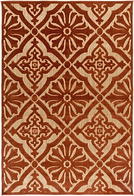 Charlton Home Carver Rust/Gold Indoor/Outdoor Area Rug; Rectangle 8'8'' x 12'