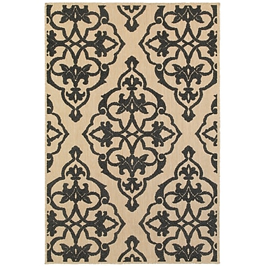 Charlton Home Winchcombe Sand/Charcoal Outdoor Area Rug; Rectangle 7'10'' x 10'10''