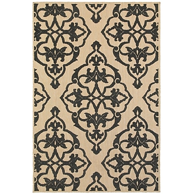 Charlton Home Winchcombe Sand/Charcoal Outdoor Area Rug; Runner 1'10'' x 3'3''