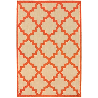 Charlton Home Winchcombe Sand/Orange Outdoor Area Rug; Rectangle 9'10'' x 12'10''