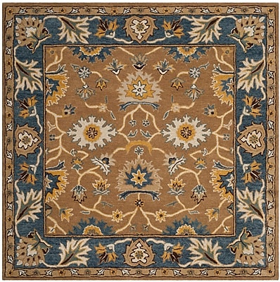 Charlton Home Cranmore Hand-Tufted Brown/Blue Area Rug; Square 6'
