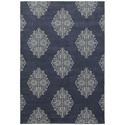 Charlton Home Darren Blue/Ivory Area Rug; Rectangle 6'7'' x 9'6''