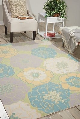 Charlton Home Wright Teal Blue/Yellow Indoor/Outdoor Area Rug; Rectangle 2'3'' x 3'9''