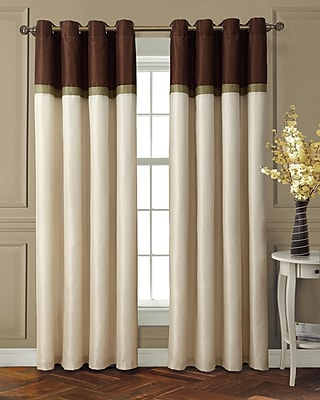 Charlton Home Ferguson Striped Max Blackout Thermal Grommet Single Curtain Panel; Chocolate /Green