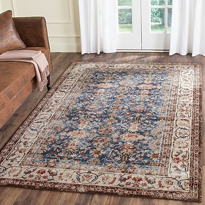Charlton Home Broomhedge Royal/Ivory Area Rug; 8' x 10'