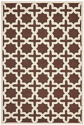 Charlton Home Brunswick Brown/Beige Area Rug; Rectangle 6' x 9'