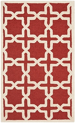 Charlton Home Brunswick Red/Beige Area Rug; Rectangle 9' x 12'