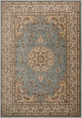 Charlton Home Abernathy Beige/Blue Area Rug; Rectangle 5' x 7'
