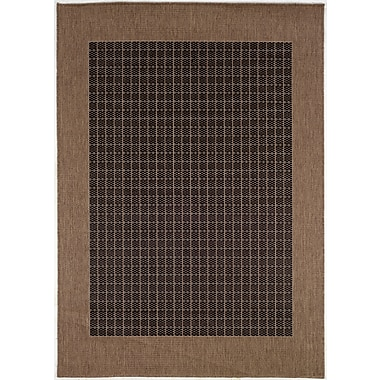 Charlton Home Ariadne Checkered Field Black/Cocoa Indoor/Outdoor Area Rug; Rectangle 5'3'' x 7'6''