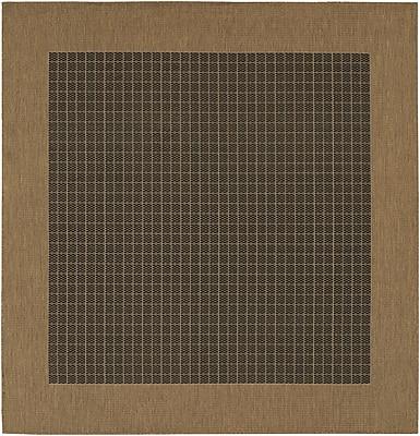Charlton Home Ariadne Checkered Field Black/Cocoa Indoor/Outdoor Area Rug; Square 7'6''
