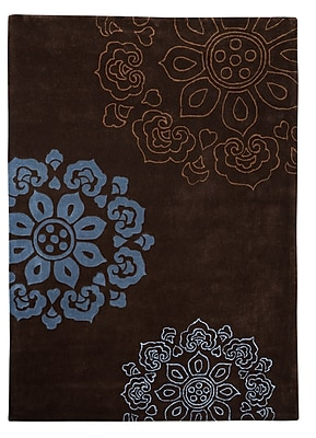 Charlton Home Columban Hand-Tufted Chocolate Area Rug; 5' x 7'