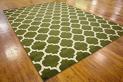 Charlton Home Moore Dark Green Area Rug; Rectangle 9' x 12'