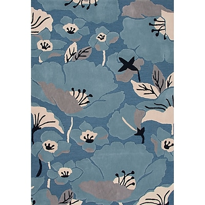 Charlton Home Thornsberry Polyester Hand Tufted Blue/Taupe Area Rug; 2' x 3'