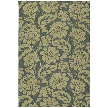 Charlton Home Glenn Azure Floral Indoor/Outdoor Area Rug; Rectangle 9' x 12'