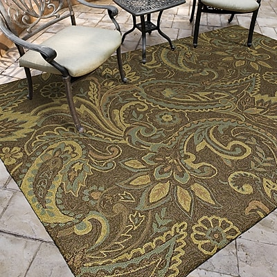 Charlton Home Manning Rivers End Mocha Indoor/Outdoor Area Rug; Round 7'9''