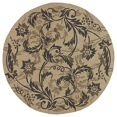 Charlton Home Manning Mocha Floral Indoor/Outdoor Area Rug; Round 7'9''