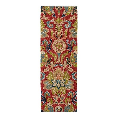 Charlton Home Manning Floral And Plants Red Indoor/Outdoor Area Rug; Runner 2' x 6'