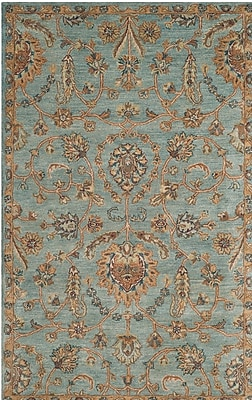 Charlton Home Cranmore Hand-Tufted Blue/Beige Area Rug; Square 6'