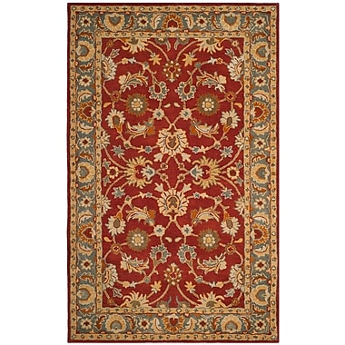 Charlton Home Cranmore Hand-Tufted Red/Blue Area Rug; Rectangle 4' x 6'