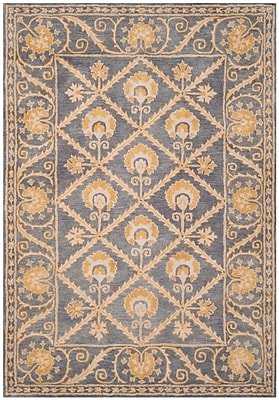 Charlton Home Amundson Hand-Tufted Blue/Gold Area Rug; Rectangle 4' x 6'