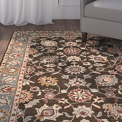 Charlton Home Cranmore Hand-Tufted Brown/Beige Area Rug; Rectangle 3' x 5'