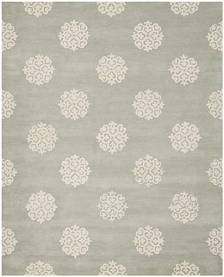 Charlton Home Alvan Wool Gray Area Rug; Rectangle 7'6'' x 9'6''