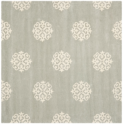 Charlton Home Alvan Wool Gray Area Rug; Square 4'