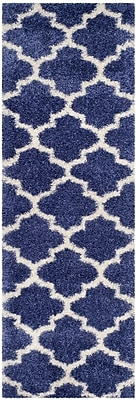 Charlton Home Bingham Blue Area Rug; Runner 2'3'' x 7'