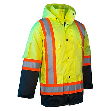 Forcefield Safety Cargo Parka, Lime With Black Trim, 4XL (024-EN640RLY-4X)