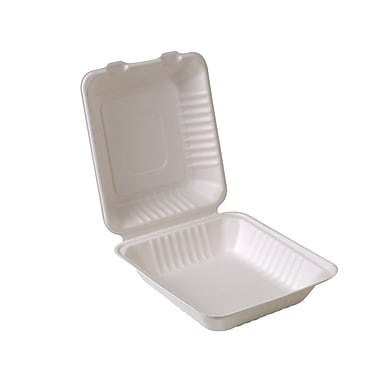 Eco-Packaging Compostable Sugarcane Clamshell, 8