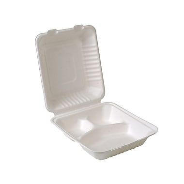 Eco-Packaging Compostable Sugarcane Clamshell with 3 Compartments, 8
