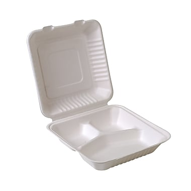 Eco-Packaging Compostable Sugarcane Clamshell with 3 Compartments, 9