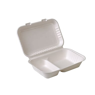 Eco-Packaging Compostable Sugarcane Clamshell with 2 Compartments, 9